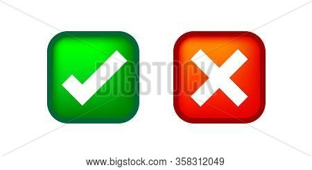 Check Mark And X Or Confirm And Deny Square Icon Button 3d For Apps And Websites Symbol, Icon Checkm