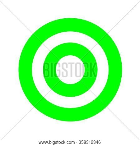 Green Round Symbol Isolated On White, Circle Icon For Shooting Target Arrow Aiming, Target For Sport