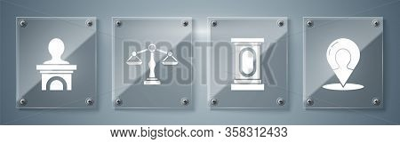 Set Map Marker With A Silhouette Of A Person, Stage Stand Or Debate Podium Rostrum, Scales Of Justic