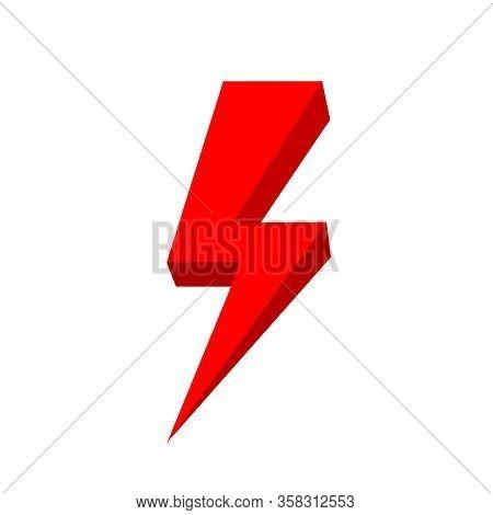 Red Thunder Icon Isolated On White Background, Thunder Storm Symbol Red Flat Lay, Clip Art Thunder,