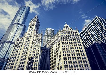View Of Famous Chicago City Buildings, Usa