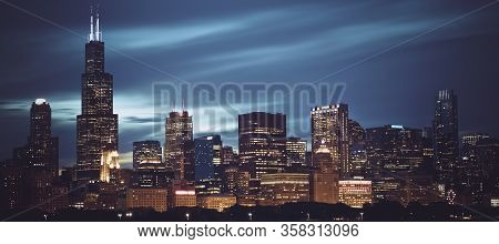 Famous Panoramic View Of Chicago Skyline By Night, Usa.