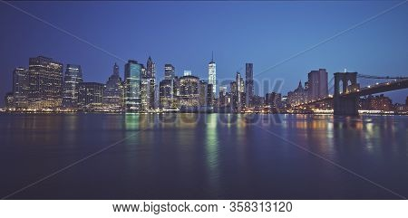 Famous Panoramic View Of New York By Night, Usa.