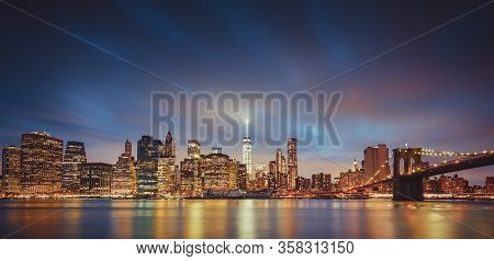 Panoramic View Of New York City By Night, Usa.