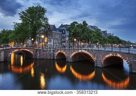 Typical View In Amsterdam, City Holland, Europe