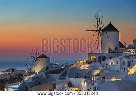 View Of Oia At Sunset, Santorini, Euope