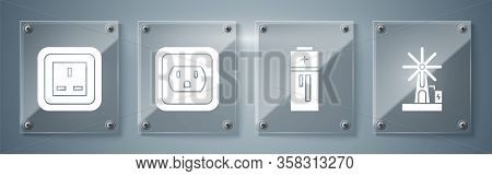 Set Wind Turbine, Battery, Electrical Outlet In The Usa And Electrical Outlet. Square Glass Panels.