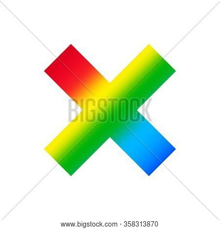 Multiplication Sign Isolated On White Background, Clip Art Multiply Rainbow Colorful, Illustration F