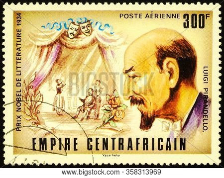Moscow, Russia - March 27, 2020: Stamp Printed In Central African Empire Shows Luigi Pirandello (186