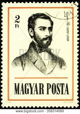 Moscow, Russia - March 27, 2020: Stamp Printed In Hungary Shows Portrait Of Pal Gyulai (1826-1909),