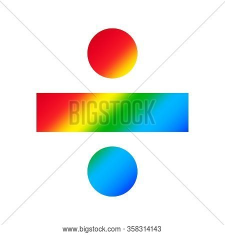 Division Sign Isolated On White Background, Clip Art Divisions Rainbow Colorful, Illustration Flat L