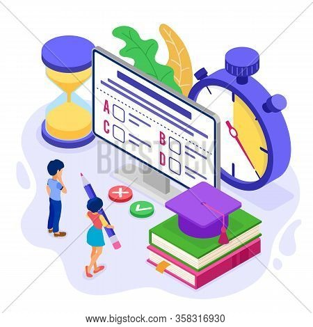 Online Education Or Distance Exam Test With Isometric Character Internet Course E-learning From Home