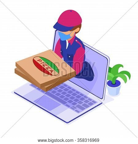 Online Food Order And Package Delivery Service. Fast Food Shipping. Isometric Courier In Mask Pandem