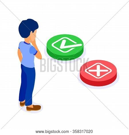Online Education Or Distance Exam With Isometric Character Man Makes Choice. Yes Or No Green Button