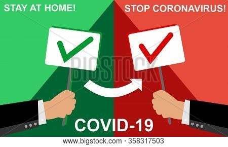 Stop Coronavirus And State At Home. Covid 19. Coronavirus Concept Inscription. Businessman Holding A