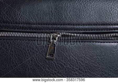 Rough Black Animal Leather Texture With Zipper