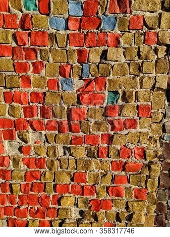 Texture Of The Stone Mosaic Motley Color, Close-up.
