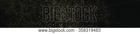 Gold Glitter Texture Panoramic Background.