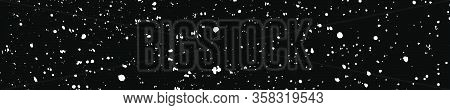 White Grainy Texture On Black. Panoramic Background. Wide Horizontal Long Banner For Site. Dust Over