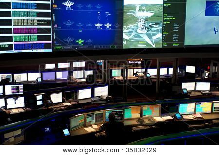 LA CANADA, CA - AUGUST 13: The NASA Mars Science Laboratory, named Curiosity, is controlled by the Space Flight Operations Center at the Jet Propulsion Laboratory in La Canada, CA on August 13, 2012.