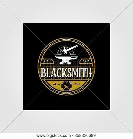 Vintage Blacksmith Forge Logo , Anvil Vector Illustration Design