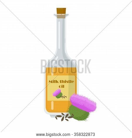Milk Thistle Oil Isolated On White Background.