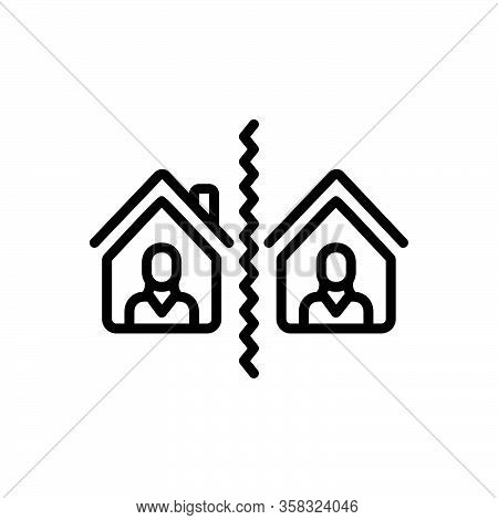 Black Line Icon For Separate Break-up Divide Distinct Aloof Segregate Split Neighborhood