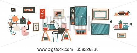 Hand Drawn Vector Abstract Stock Cartoon Modern Graphic Illustration Art Collection Bundle Set With