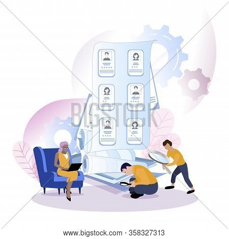 Recruiter Choice Of Worker Or Personnel. Illustration Office Hr Recruiter, Recruitment Choice Worker