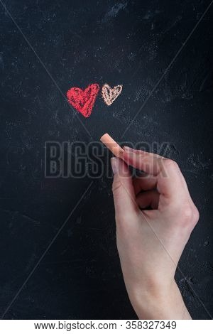 Valentines Day Card.two Hearts Painted With Chalk, Pastel On A Dark Background, Chalky Board.girl Dr