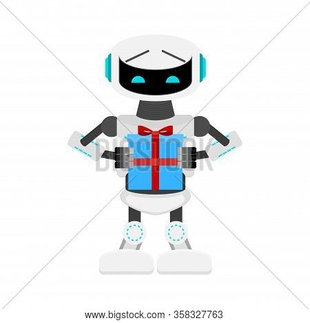 Robot Present Gift, Birtday Celebrate. Vector Greeting Humanoid, Artificial Intellect Generous, Serv