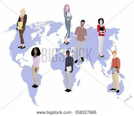Multicultural Students From All Over The World. Vector Student College, Teen Multiracial Variation,