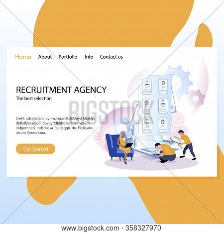 Recruitment Agency Mockup Website, Landing Page. Illustration Recruitment And Employment, Company Hi