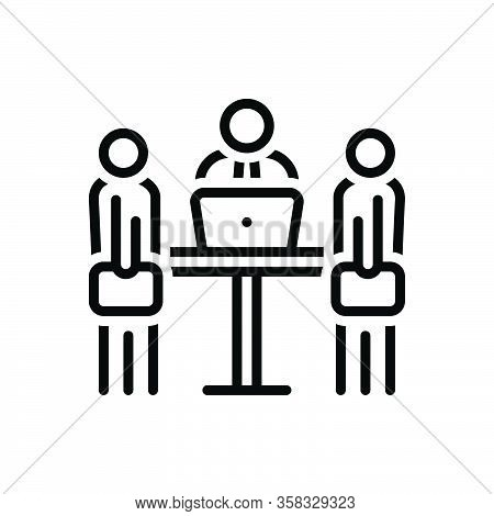 Black Line Icon For Meeting People Interview Conference Manager Supervisor Employer