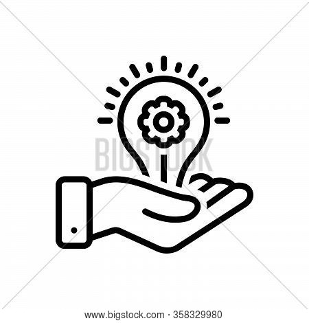 Black Line Icon For Provider Manufacturer Supplier Donor Light-bulb Intuition Electricity