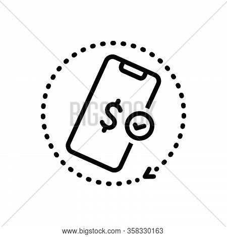 Black Line Icon For Afford Mobile Grant Pay Expense Payment App