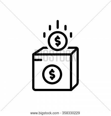 Black Line Icon For Charity Contributions Helpful Fund Donate Donation Helping-hand Dollar Money