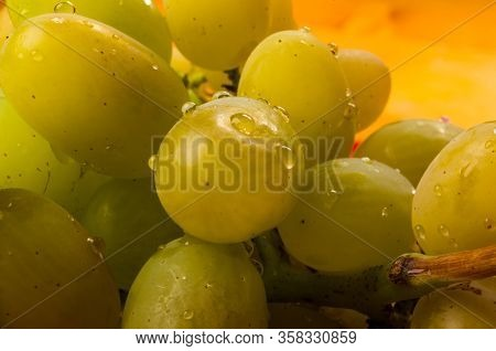 Large Brush Of Green Grapes In A Red Ceramic Plate On A Wooden Background