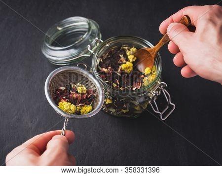 Herbal Tea. Portion Of Tea, Preparation For Brewing.
