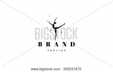 Vector Logo On Which An Abstract Image Of A Dancing Ballerina.