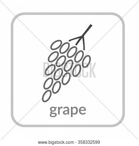 Grape Bunch Icon. Gray Berry, Outline Flat Sign, Isolated White Background. Symbol Vineyard, Alcohol