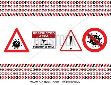 Seamless Caution Warning Tape. Stop Covid-19 Sign. Red White. Danger Tape. Red And White Attention S