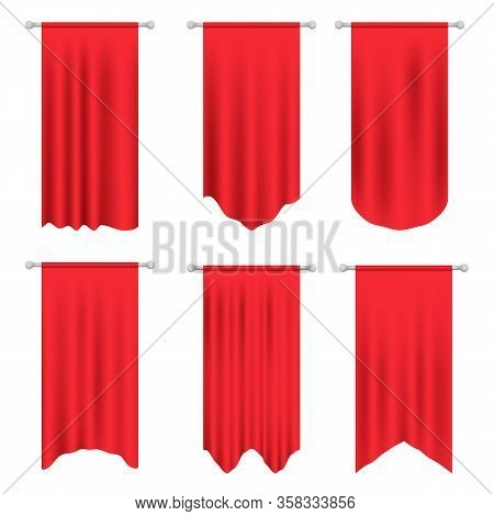 Red Long Sport Advertising Pennants Banners Samples. Pennant Flag Set Vector. 3d Model Of A Realisti