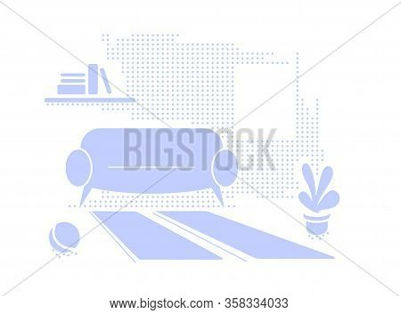 Blue Interior Textured Background With Empty Space. Living Room In Flat Style Vector Illustration. S
