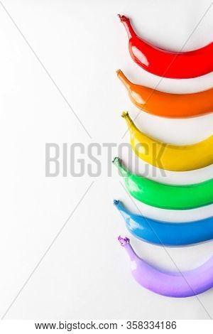 Lgbt Flag Concept On White Background, Symbol Gay Pride, Bright Rainbow Gay Flag