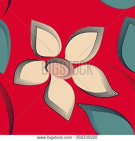 Vintage Flowers Watercolor Red Template. Fashion Floral Print. Abstract Geometric Pattern. Spring Su