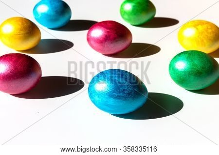 Colorful Easter Eggs On White Background. Happy Easter Composition. Copy Space.