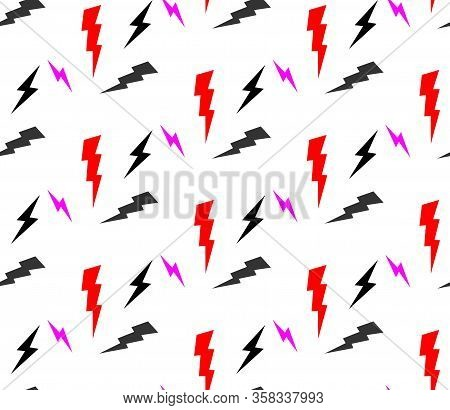 Rock And Roll Seamless Pattern With Electricity Lightnings. Vector Hard Rock Doodle Illustration. Ca