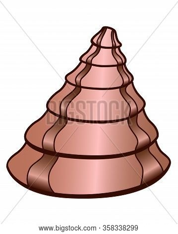 Shell. Cone-shaped Beige Shell With Brown Stripes - Vector Full Color Picture. Sea Life Is A Clam In