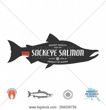 Vector Wild Alaskan Sockeye Salmon Label